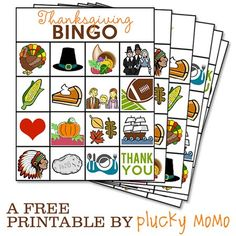 FREE Printable: Thanksgiving Bingo via Plucky Momo Thanksgiving Preschool, Thanksgiving Games, Happy Thanksgiving, Holiday Crafts, Holiday Fun, Fall Crafts, Holiday Ideas, Bingo Cards, Autumn Activities
