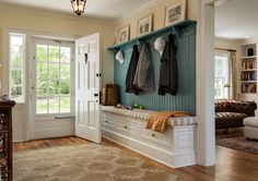 MUD ROOM – Cottage farmhouse entry new york, Crisp Architects Sweet Home, Cozy Living Rooms, Living Area, Entryway Decor, Entryway Ideas, Entryway Storage, Bench Storage, Shoe Storage, Entrance Ideas