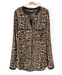 V Neckline Blouse with Leopard Print and Chest Pockets