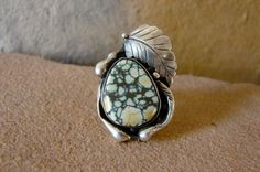Floral Navajo Handmade Sterling Silver and Variquoise Ring- Authentic Navajo Artist Native American Southwest Courage Benally