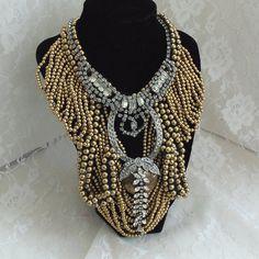 Statement Couture Necklace, Rhinestones n Brass.