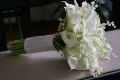 calla lily and lily-of-the-valley bouquet #wedding #bridal #white #flowers wedding-ideas-for-someday