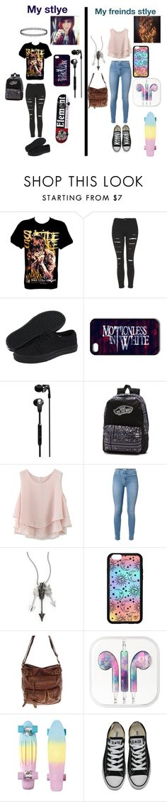"""my style and my friends style"" by sibelbell ❤ liked on Polyvore featuring Topshop, Vans, Skullcandy, Chicwish, Jade Jagger, Forever 21 and Converse"