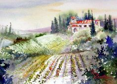 Florence Fields - Watercolor of Italy Rita Zaudke