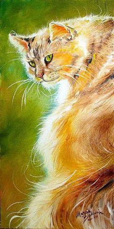 """""""Sunlit Kitty - Sweet Kitty"""" par Marcia Baldwin and like OMG! get some yourself some pawtastic adorable cat apparel! Watercolor Cat, Watercolor Paintings, Artist Portfolio, Cat Drawing, Animal Paintings, Beautiful Cats, Dog Art, Pet Portraits, Oeuvre D'art"""
