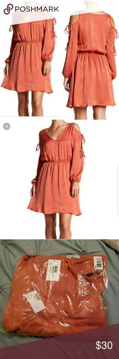 The Vanity Room Tie Sleeve Cold Shoulder Dress The Vanity Room Dress -cold shoulder sleeves -v neck  -fit & Flare  -copper  -satiny fabric New with tags and still in packaging The Vanity Room Dresses Midi