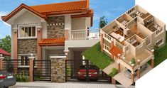 Modern house designs such as has 4 bedrooms, 2 baths and 1 garage stall. The floor plan features of this modern house design are, covered front porch, balcony over garage, walk-in closet o Best Modern House Design, Classic House Design, Simple House Design, Minimalist House Design, House Plans Mansion, Sims House Plans, Modern Bungalow House, Bungalow House Plans, Modern House Philippines