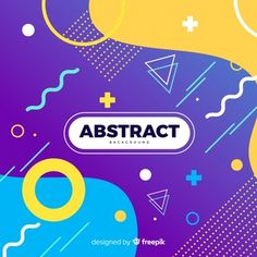 Abstract background in memphis style Free Vector Design Plat, Flat Design, Memphis Design, Living At Home, Abstract Shapes, Social Media Design, Motion Design, Design Reference, Graphic Design Inspiration