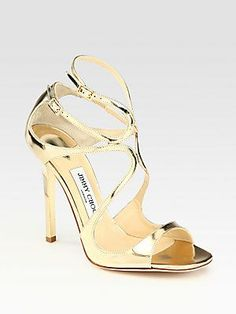 Jimmy Choo Lance Mirrored Metallic Leather Sandals - need 'em in silver though.