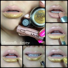 Fleshpots Lipstick by MAC + Maybelline Color Tattoo Metal in gold + Goldilux pigment by Sugarpill + NYX Plumping Gloss. www.sheilarenee.co