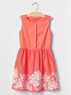 Floral border fit & flare dress