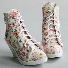 48# Jeans Blue White Dot High Heel Canvas Shoes 1//4 BJD MSD AOD Dollfie PF
