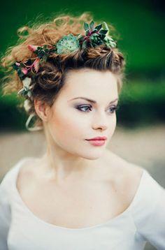 10 Succulent Wedding Ideas: floral crown   Photo: Eliza Claire