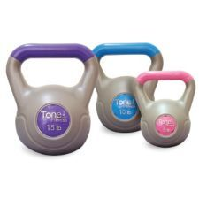 Tone Fitness Vinyl Coated Kettlebell Weights feature a cement-filled vinyl coating, a great alternative to cast iron kettle bells | Canadian Tire