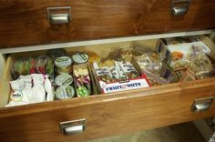 school lunch drawer = genius. everything prepackaged and ready to go! must do this!