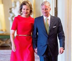 King Philippe and Queen Mathilde of Belgium attended a working meeting with school principals on the subject of education on May 11, 2016, at the Royal Palace in Brussels.