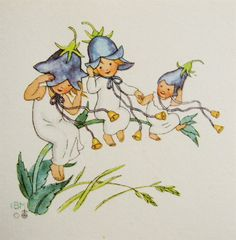 gift card bluebell trio ida bohatta vintage mini card and print spring summer waldorf flower fairies