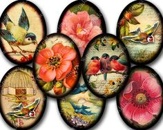 Flora and Fauna Ovals Printable Collage Sheet in 30 x 40 mm Instant Download