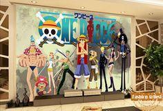 Custom 3d kids boys cartoon wallpaper mural One Piece Luffy Chopper tv sofa children bedroom living room cafe bar background #Affiliate