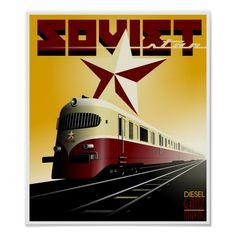 Shop Russian Vintage Railway Propaganda Poster created by CSfotobiz. Vintage Advertising Posters, Vintage Travel Posters, Vintage Advertisements, Advertising Ideas, Train Posters, Railway Posters, Art Deco Posters, Cool Posters, Train Art