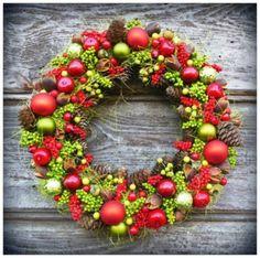 Boże Narodzenie - wianki-Wianek czerwień i zieleń