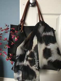 It's not real fur or real cowhide.it's my photo of cowhide fur taken outside a shop in a town in rural Ireland. But so chic, so dynamic. Chiffon Scarf, Pink Peonies, Blush Pink, Ireland, My Photos, Fur, Shoulder Bag, Tote Bag, Chic
