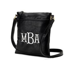 Monogrammed Black Leather Like Clutch by ohsewsassycreations