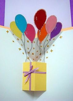 Lin Handmade Greetings Card: Pop up gift box and balloons!                                                                                                                                                     More