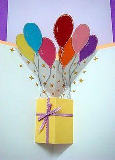 Lin Handmade Greetings Card: Pop up gift box and balloons! More