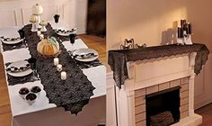 5 Pc Spiderweb Lace Table Accent Spooking Halloween Decor Black Lace Dining Room Table or Fireplace Mantle Runner & Placemats Set