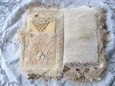 Romantic Vintage Fabric and Lace Journal For any by ShabbySoul