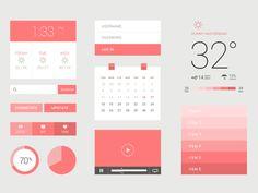 Freebie PSD: Flat / UI Kit - UI Kits - Ideas of UI Kits - Free flat design-weather calendar video player Design Web, App Ui Design, User Interface Design, Flat Design, Dashboard Interface, Flat Ui, Ui Kit, Template Web, Mobile Ui Design