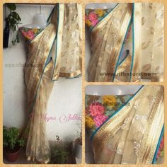 Code: Vintage LoveBlouse: Pure Linen floral pattern 1mtSaree: Nude net with work all over finished with hold border and green piping.