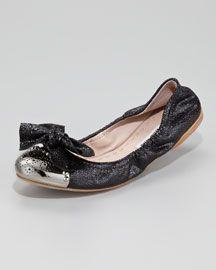 X1BP6 Miu Miu Bow-Toe Crackle Ballerina Flat