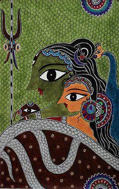 Shiva-Parvati Original Signed Acrylic Painting Hindu Art Novica India