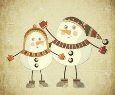 レトロなスタイルのヴィンテージのクリスマス カード - グランジ背景 2 雪だるま - ポストカード ロイヤリティフリークリップアート、ベクター、ストックイラストレーション。. Image 16378045.