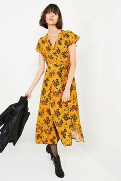 Okrová - Midi šaty s květinovým potiskem