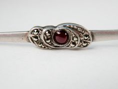 Garnet Bar Pin Art Deco Revival Red Garnet Sterling Silver Marcasite Garnet Brooch Silver Pin January Birthstone Vintage Pin 925 by TheJewelryChain on Etsy