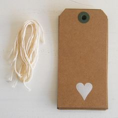 kraft gift tags with white foil heart