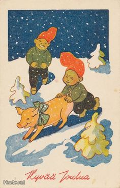 Hans Björklind , Ukko Christmas Fairy, Elves, Gnomes, Folk, Kids Rugs, Pixies, Cards, Painting, Vintage