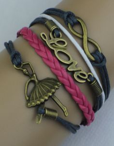 Infinity, Love, Ballerina Wrap Bracelet – Black/Pink/White  $15.00  Fashion Jewelry at Modest Prices - www.gomodestly.com
