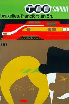 TEE Saphir poster, 1962 | Paul Funken, SNCB