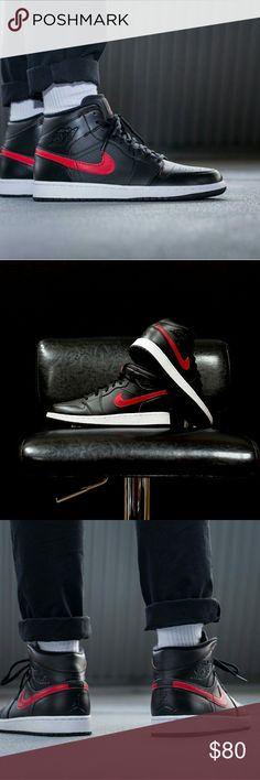AIR JORDAN 1 MID BG AIR JORDAN 1 MID BG  COLOR: BLACK/GYM RED-GYM RED-WHITE  SIZE 7Y/ WOMEN'S SIZE 9  BRAND NEW NEVER WORN Jordan Shoes Sneakers