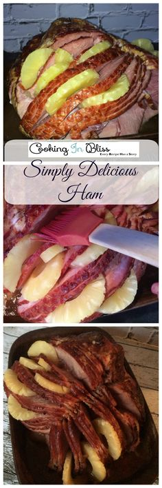 Easy to make mouthwatering Baked HAM. This recipe is super delicious and looks great for your holiday dinner. Ham Recipes, Barbecue Recipes, Slow Cooker Recipes, Cooking Recipes, Easter Recipes, Dinner Recipes, Pork Dishes, Tasty Dishes, Easy Family Meals
