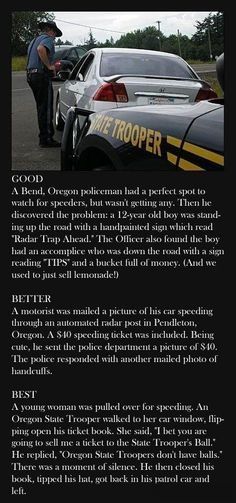 Hilarious! If I get pulled over I'm definitely trying the last one.