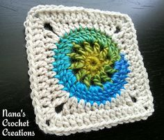 "Nana's Crochet Creations: Nana's ""Granny Circle Square"" - free pattern by Des Maunz. https://www.facebook.com/notes/nanas-crochet-creations/nanas-granny-circle-square/809988609086206"