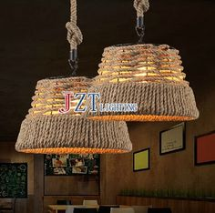 (117.45$)  Know more - http://ai8y7.worlditems.win/all/product.php?id=1000001861401 - M Vintage Rope Pendant Lights Loft Industrial Lamp Dia36*H22cm E27 Edison Bulb American Style For restaurant/bar home decoration