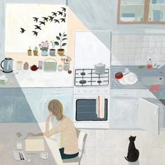 'The White Page' by Painter Valeriane Leblond.  Blank Art Cards By Green Pebble. www.greenpebble.co.uk