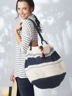 Nautical Hobo Bag | Yarn | Free Knitting Patterns | Crochet Patterns | Yarnspirations