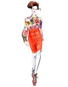 #2012 FALL & Resort 2013 Runway Illustrated(series) #Kati Nescher for Preen 2012 Fall RTW #Sunny Gu